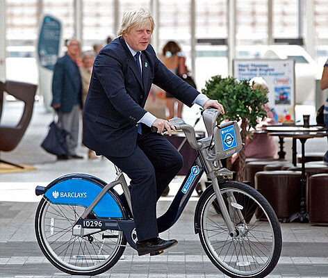Boris launches the Boris bike at Westfield as one shopper Samantha Brown 28yrs from Clapham loses her balance and falls of while cycling with the Mayor ...